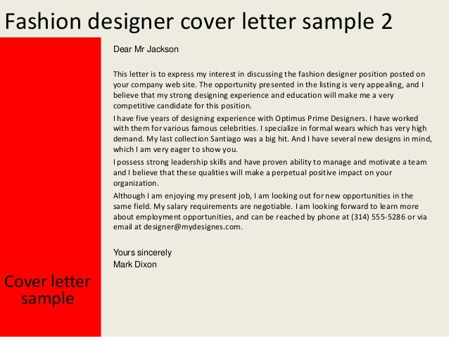 fashion designer - Fashion Designer Cover Letter