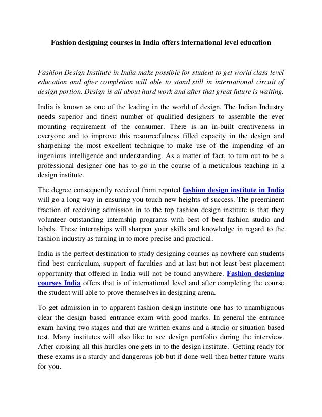 Fashion Designing Courses In India Offers International Level Educati
