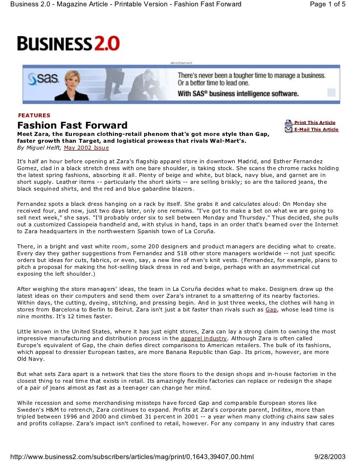 Business 2.0 - Magazine Article - Printable Version - Fashion Fast Forward                                  Page 1 of 5   ...