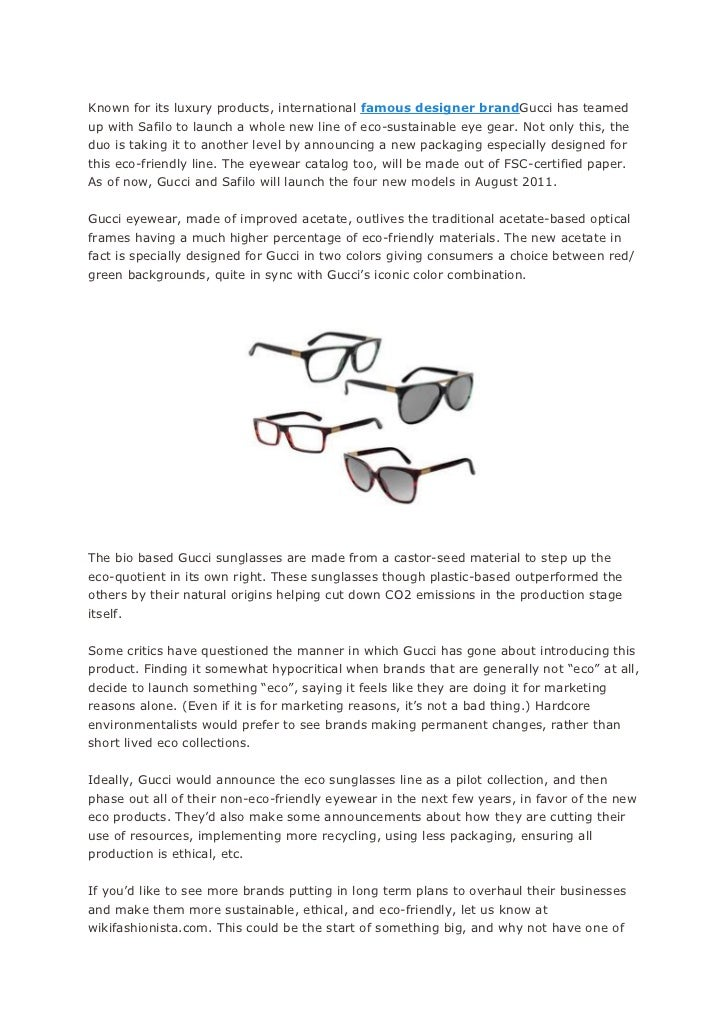 Fashion for 2011 gucci eco eyewear and sunglasses