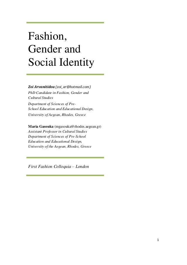 fashion gender and social identity