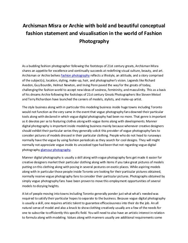 Fashion Photography Personal Statement Examples