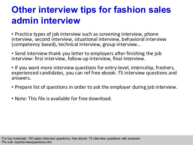 Fashion sales admin interview questions and answers