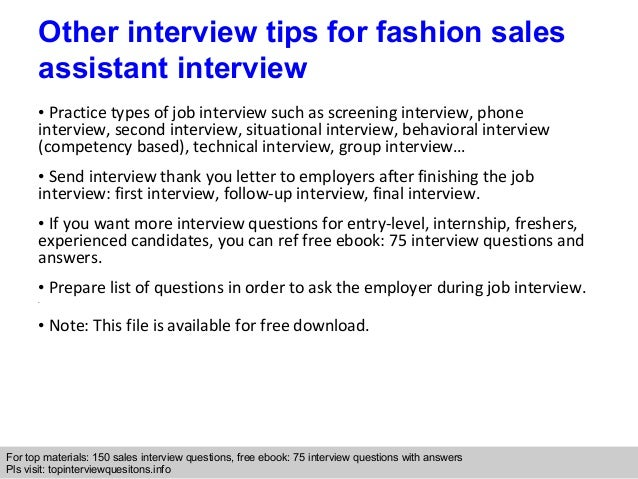 Fashion Sales Assistant Interview Questions And Answers