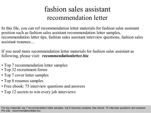Fashion sales assistant recommendation letter
