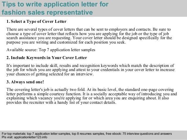 Fashion sales representative application letter