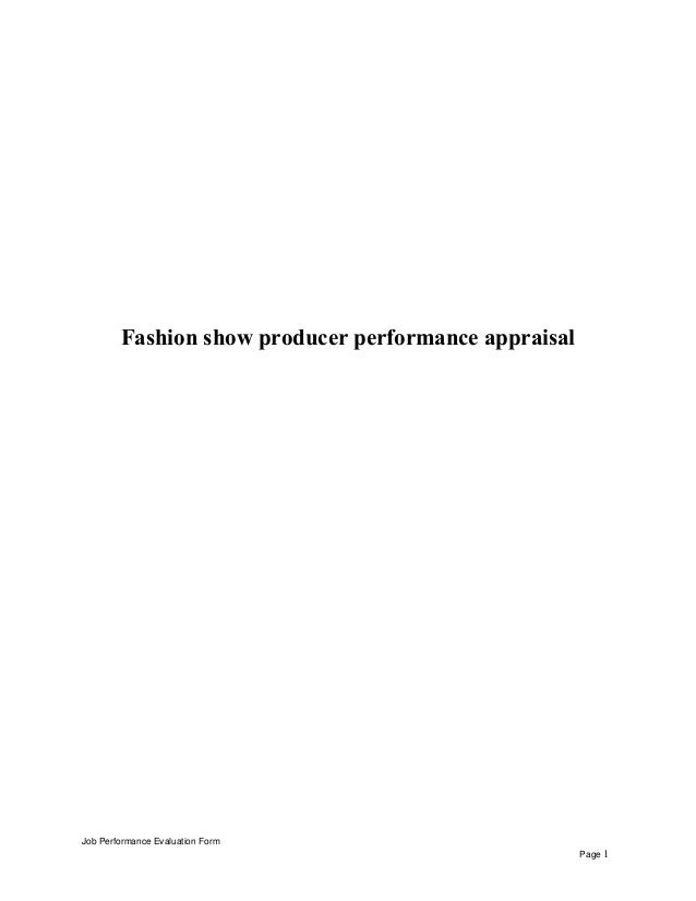 Fashion show producer performance appraisal Job Performance Evaluation Form Page 1