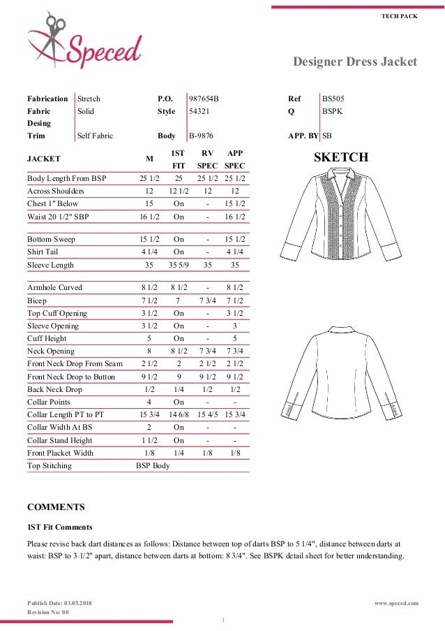 Fashion Spec Sheet Template
