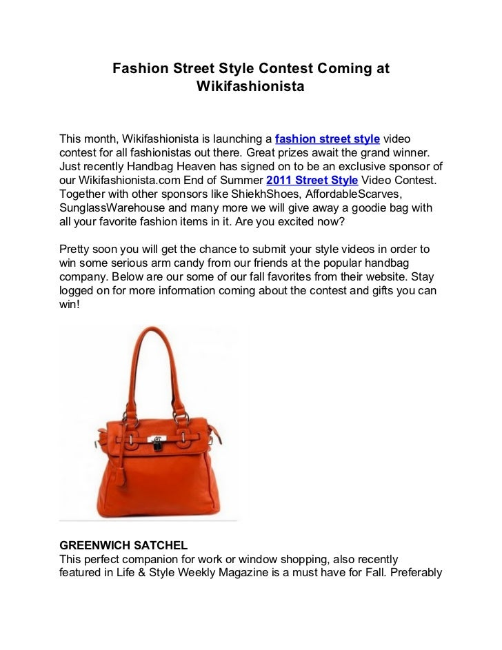 Fashion Street Style Contest Coming at                     WikifashionistaThis month, Wikifashionista is launching a fashi...