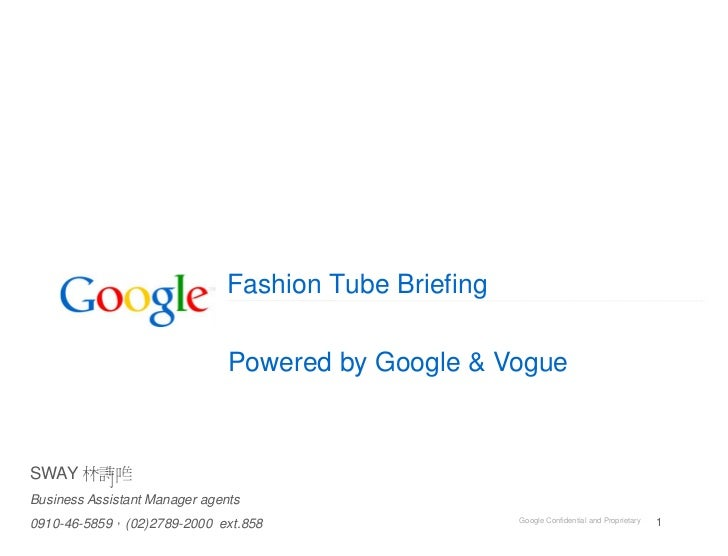 Fashion Tube Briefing                               Powered by Google & VogueSWAYBusiness Assistant Manager agents        ...