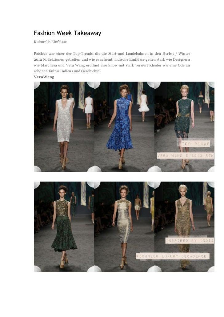 Fashion Week TakeawayKulturelle EinflüssePaisleys war einer der Top-Trends, die die Start-und Landebahnen in den Herbst / ...