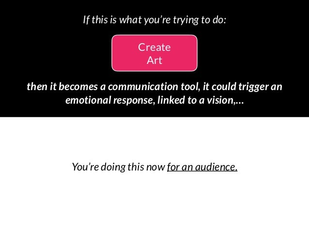 Create Art then it becomes a communication tool, it could trigger an