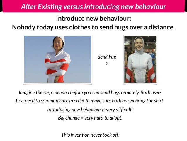 Alter Existing versus introducing new behaviour Introduce new behaviour: Nobody today uses clothes to send hugs over a di...