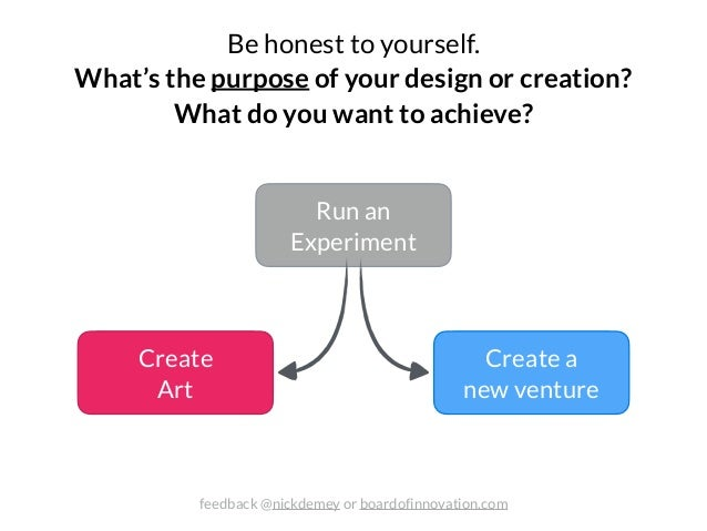 Create Art Create a new venture Be honest to yourself. 