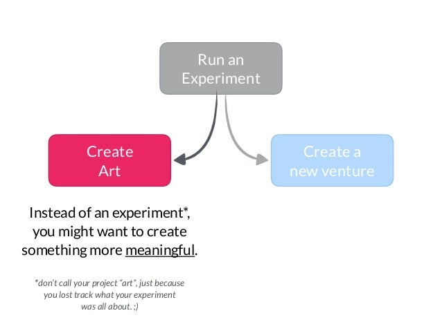 Create Art Create a new venture Run an Experiment Instead of an experiment*,  you might want to create something more me...