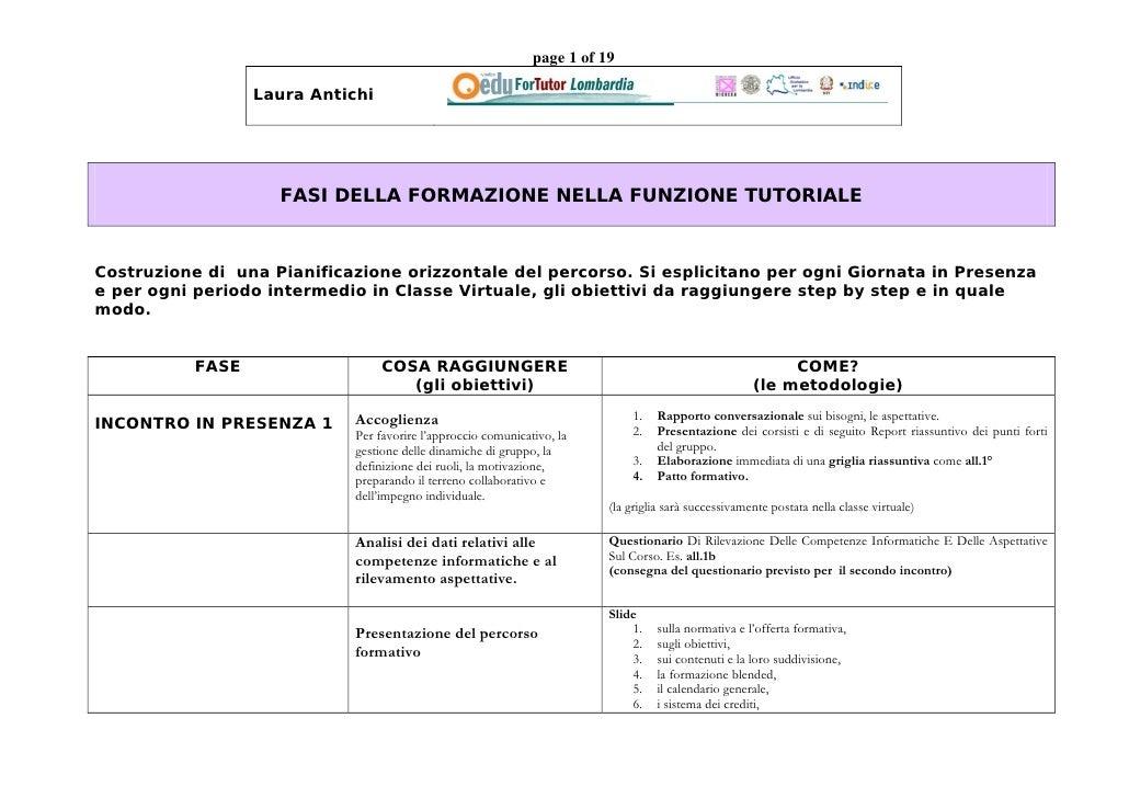 page 1 of 19                    Laura Antichi                         FASI DELLA FORMAZIONE NELLA FUNZIONE TUTORIALE    Co...