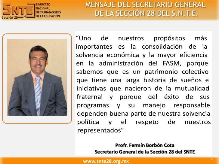 SINDICATO<br />NACIONAL<br />DE TRABAJADORES<br />DE LA EDUCACIÓN<br />MENSAJE DEL SECRETARIO GENERAL<br /> DE LA SECCIÓN ...