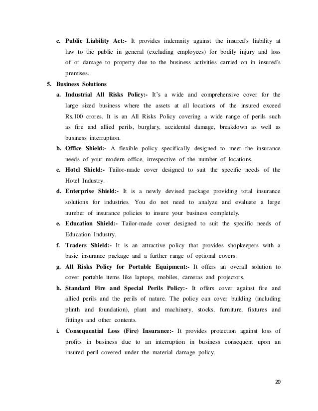 project report on iffco tokio general insurance Iffco-tokio general insurance company limited claim form - part a to be filled in by the insured  investigation reports mlc report & police fir.