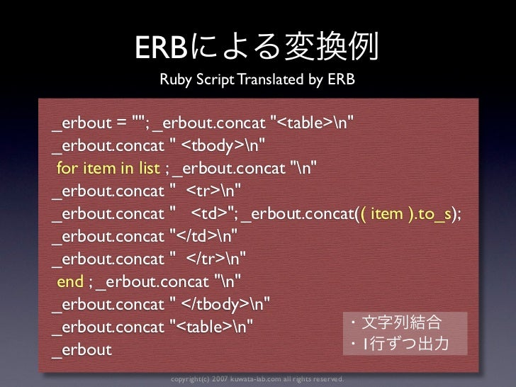 """ERB              Ruby Script Translated by ERB_erbout = """"""""; _erbout.concat """"<table>n""""_erbout.concat """" <tbody>n"""" for item i..."""