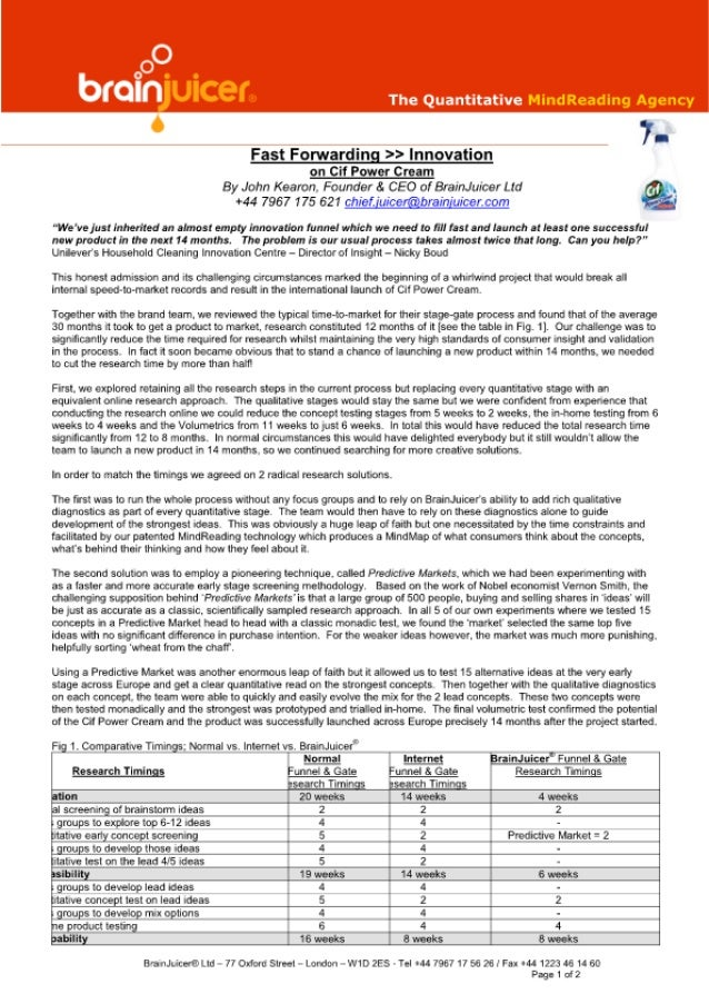 Fast Forwarding - Innovation for Cif Power Cream