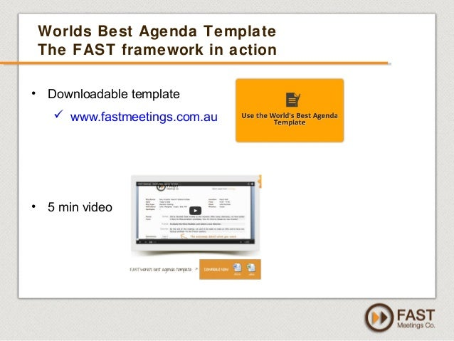 Driving Results With Effective Meetings   By FAST Meetings Co   FREE 45  Webinar   Sept 2013  Best Agenda Template