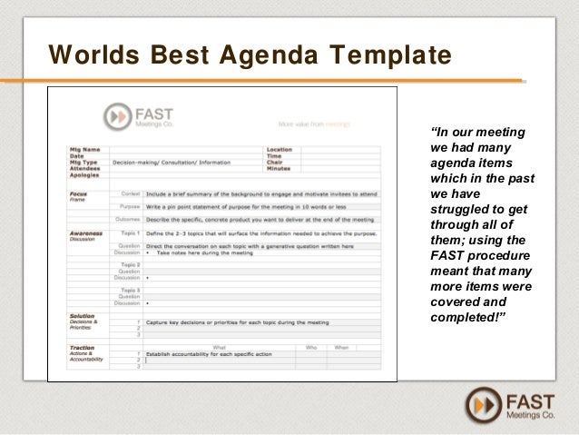 Driving Results With Effective Meetings   By FAST Meetings Co   FREE 45  Webinar   Sept 2013 And Best Meeting Agenda Template