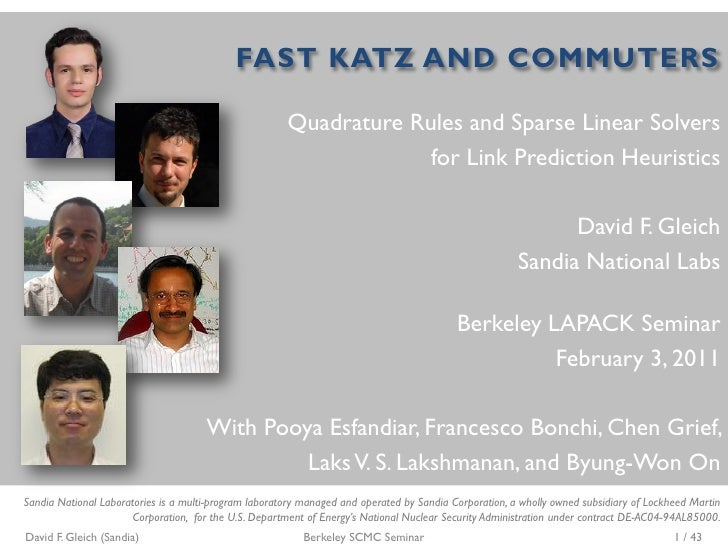 FAST KATZ AND COMMUTERS                                                       Quadrature Rules and Sparse Linear Solvers  ...