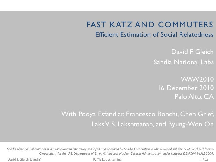 FAST KATZ AND COMMUTERS                                                              Efficient Estimation of Social Relate...