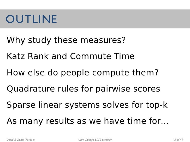 Fast matrix computations for pair-wise and column-wise Katz scores and commute times Slide 3