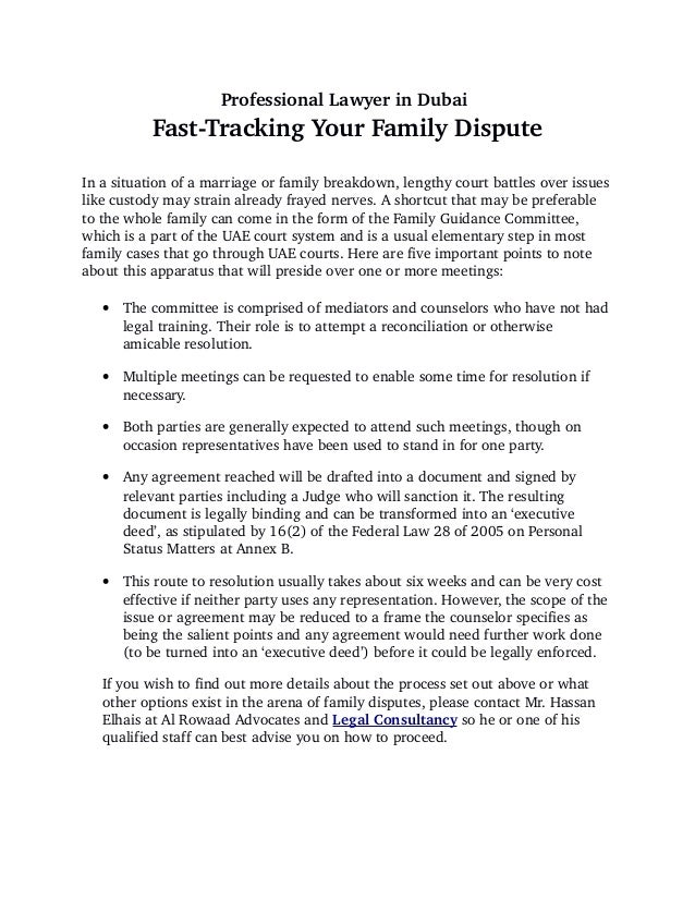 Fast Tracking Your Family Dispute