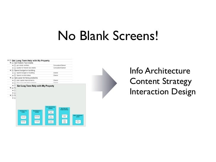 No Blank Screens!            Info Architecture            Content Strategy            Interaction Design