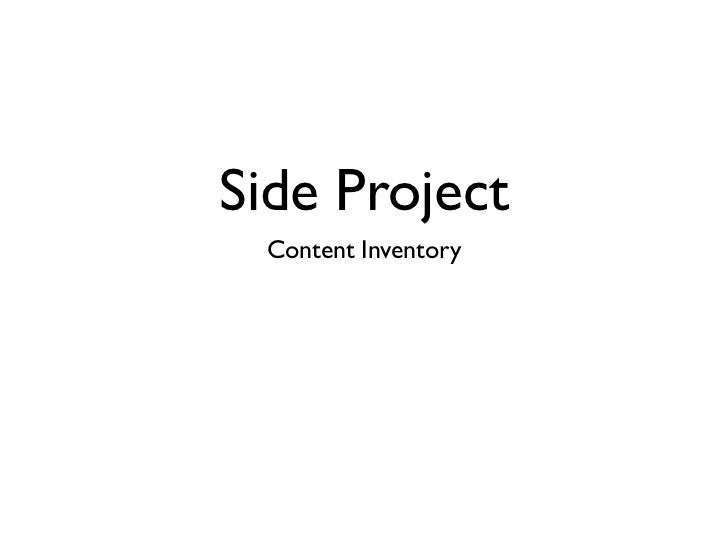 Side Project Content Inventory