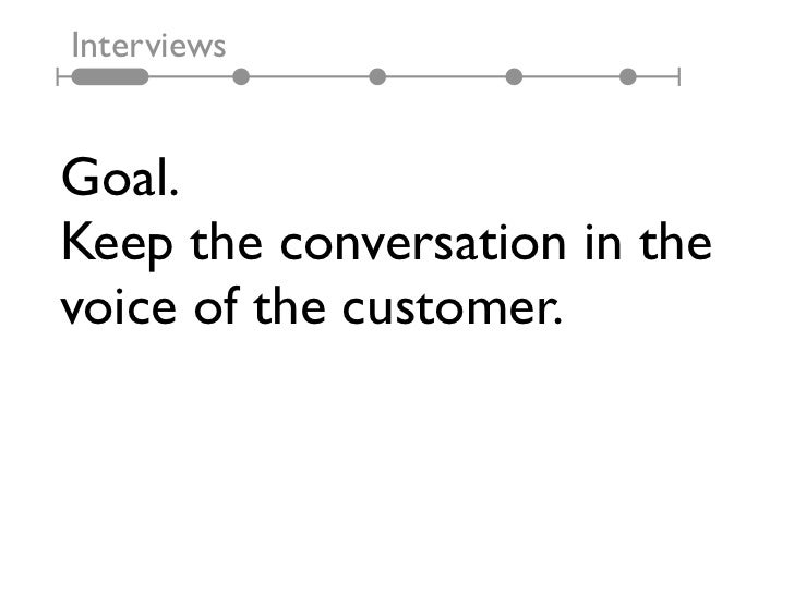 InterviewsGoal.Keep the conversation in thevoice of the customer.