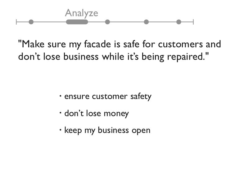 """Analyze""""Make sure my facade is safe for customers anddon't lose business while it's being repaired.""""         •   ensure cu..."""