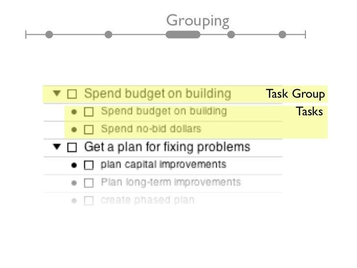 Grouping           Task Group                Tasks