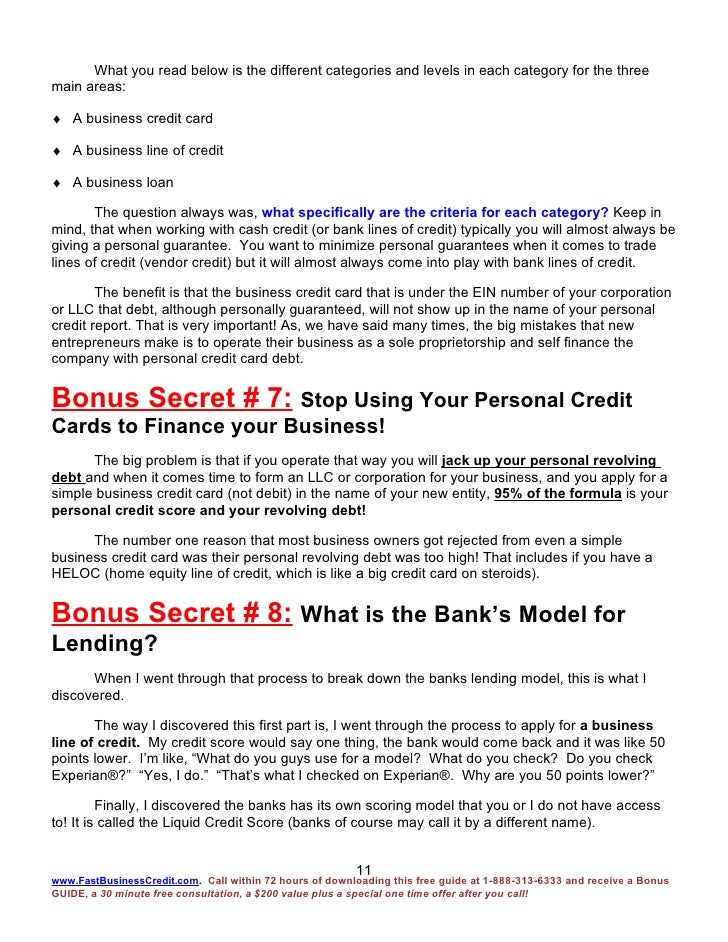 Fast Business Credit Bonus Report 15 Bonus Secrets 4 2 09