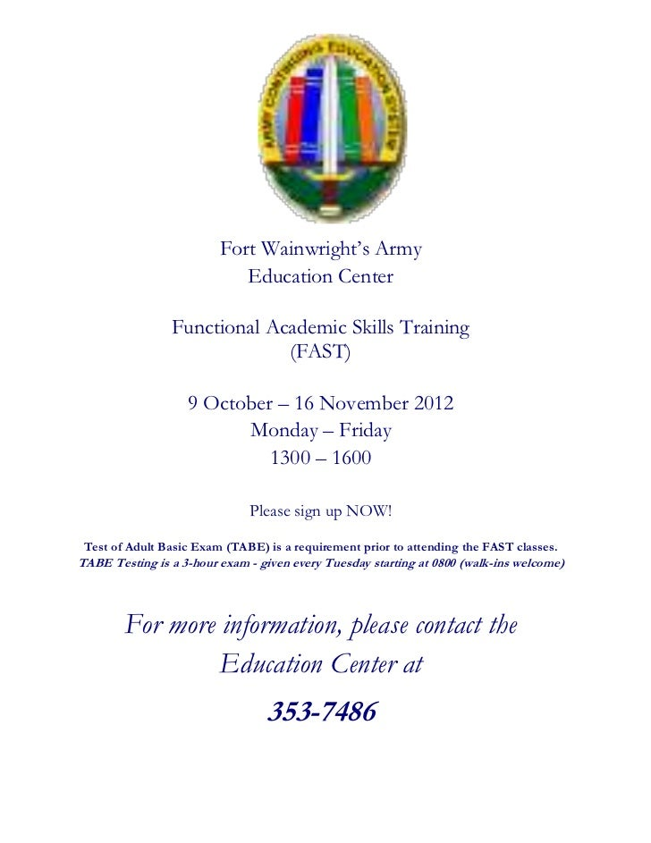 Fort Wainwright's Army                            Education Center                Functional Academic Skills Training     ...