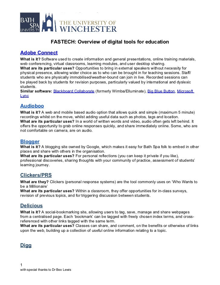 FASTECH: Overview of digital tools for educationAdobe ConnectWhat is it? Software used to create information and general p...