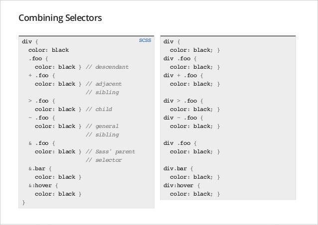 Combining Selectors div { color: black .foo { color: black } // + .foo { color: black } // // > .foo { color: black } // ~...