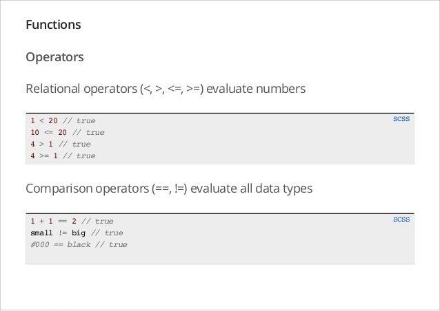 Functions Operators Relational operators (<, >, <=, >=) evaluate numbers 1 < 20 // true 10 <= 20 // true 4 > 1 // true 4 >...