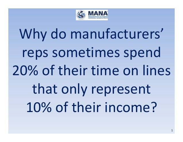 1 Why do manufacturers' reps sometimes spend 20% of their time on lines that only represent 10% of their income?