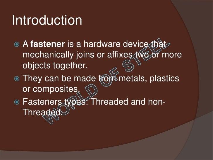 Fasteners Presentation Slide 2