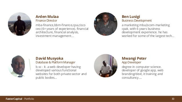 FasterCapital - Portfolio 31 We seek to fill the gap that exists in Sub Saharan Africa between people ignored by financial...
