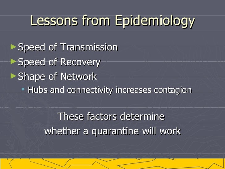 Lessons from Epidemiology <ul><li>Speed of Transmission </li></ul><ul><li>Speed of Recovery </li></ul><ul><li>Shape of Net...