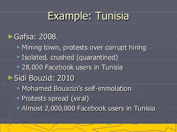 Example: Tunisia <ul><li>Gafsa: 2008.  </li></ul><ul><ul><li>Mining town, protests over corrupt hiring </li></ul></ul><ul>...
