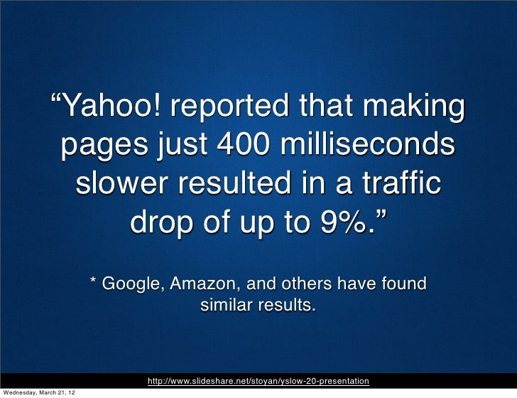 """""""Yahoo! reported that making                pages just 400 milliseconds                 slower resulted in a traffic       ..."""
