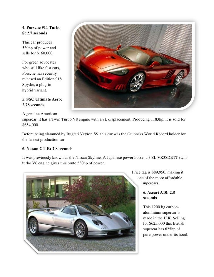 Fastest cars 2011-2012