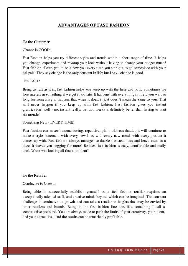 Fashion advantages and disadvantages essay