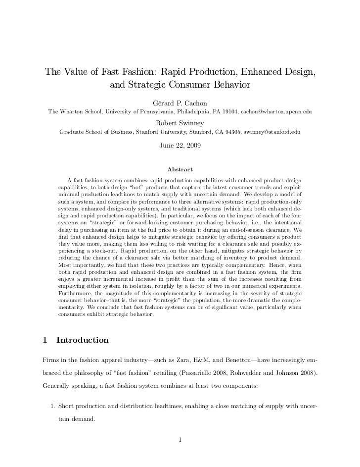 The Value of Fast Fashion: Rapid Production, Enhanced Design,               and Strategic Consumer Behavior               ...