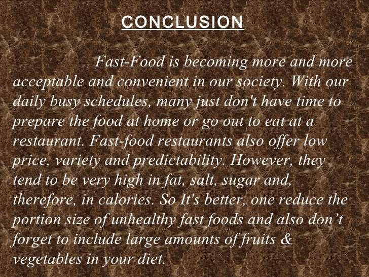 Fast food essay conclusion